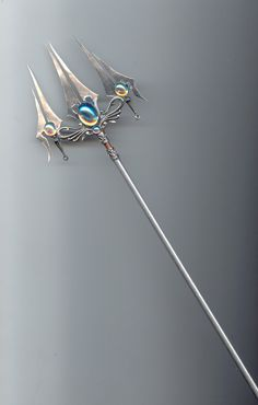 Trident Sea elf Grant's the wielder + 4 water based magical attack Pretty Knives, Armas Ninja, Trishul, Mermaid Crown, Anime Weapons, Weapon Concept Art, Mermaid Tails, Merman, Merfolk
