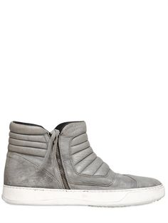 BB BRUNO BORDESE WASHED  PADDED LEATHER ZIP UP HIGH TOPS