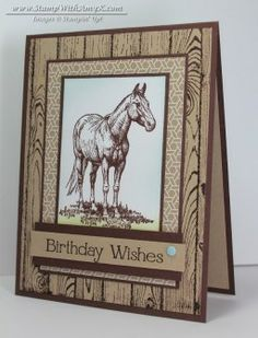 handmade birthday card: Horse Frontier 2 from Stamp With Amy K ... monochromatic kraft ... luv the espreso ink and accents on kraft ... Stampin' Up!