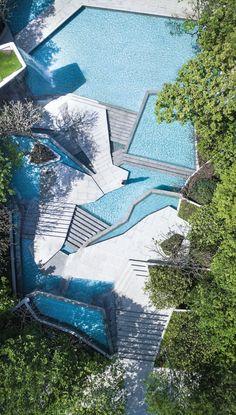 在天空钓鱼——龙湖云峰原著 / SPI Landscape Group山水比德 – mooool木藕设计网 Landscape Architecture Design, Contemporary Architecture, Lanscape Design, Modern Landscaping, Cool Pools, Urban Landscape, Pool Designs, Water Features, Exterior Design
