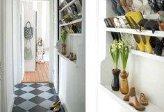 Slim shelves are perfect for narrow hallways but could fit a lot of shoes