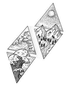 Sketch Tattoo Design, Tattoo Sketches, Tattoo Designs, Art Sketches, Friend Tattoos Small, Small Tattoos, Shaded Tattoos, Four Elements Tattoo, Tattoo Shading