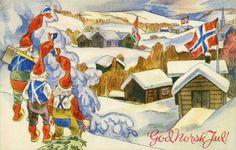 Julekort Frank Wathne utg Lærdal 1940-tallet