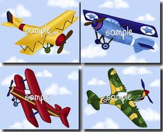 Set of 4 Up Up and Away Little Airplanes Boys Bedroom Baby Nursery 8 x 10 ART PRINTS
