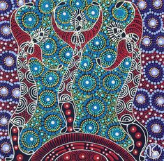 Dreamtime Sisters by Colleen Wallace Nungari depicts the ancestral spirit figures Irrernte-arenye (Dreamtime sisters) of the Eastern Arrernte Aboriginal people in Central Australia Más Aboriginal Symbols, Aboriginal Dot Painting, Aboriginal Artists, Aboriginal Dreamtime, Aboriginal People, Indigenous Australian Art, Indigenous Art, Stippling Art, Art Premier