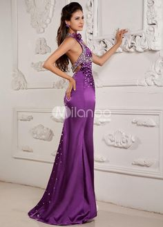 Grape Purple Halter Splitting Sequin Elastic Woven Satin Prom Dress. Train length 5cm. See More Elastic Woven at http://www.ourgreatshop.com/Elastic-Woven-C941.aspx
