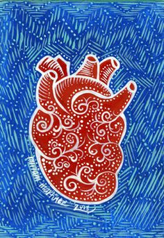 "Heart - by artist Miriam Martinez - acrylic on illustration board, 3.5""x5"" - SOLD"