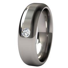 Men's Contour Titanium Ring with a Single 3mm Inset Gem