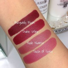 Swatches of the maybelline creamy matte lipsticks 😍 I love how long wearing they are. I tried to take them off my arm and cried a little cus I have a bruise underneath lmao . Really gotta put your. Maybelline Creamy Matte Lipstick, Lipgloss, Matte Lipsticks, Maybelline Burgundy Blush, Revlon Matte Balm, Burgundy Lipstick, Fall Lipstick Colors, Lipstick Dupes, Makeup Products