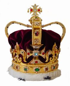 St Edwards Crown is the most important of all the crown jewels. It is with this crown that the monarch is crowned at the ceremony of the coronation. The original crown was melted down during Oliver Cromwell's rule. When the monarchy was restored on 29th May, 1660, new regalia had to be made before there could be a coronation. A copy was instructed to be made, to be traditionally used at the actual moment of crowning, but never worn again during the reign. The crown is made of solid gold.