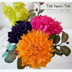 Items similar to 3 Chrysanthemum - Crepe paper flowers - Paper flowers bouquet - Wedding poppies - Bridal poppy - Wedding paper flower - Fall flowers on Etsy Paper Flowers Wedding, Crepe Paper Flowers, Flower Bouquet Wedding, Autumn Flowers, Chrysanthemum, Autumn Wedding, Small Gifts, Color Mixing, Wrapping Ideas