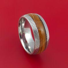 Damascus Steel Ring with Jack Daniel's Whiskey Barrel Wood Inlay Custom Made