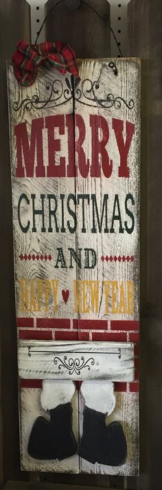 ⊹⊱● Merry Christmas & Happy New Year / Santa ●⊰⊹ Tall Holiday/Seasonal Wood Sign Decorate your home with this handmade, rustic distressed Western Safari Home Decor, Urban Home Decor, Cute Home Decor, Home Decor Wall Art, Home Decor Items, Cheap Home Decor, Home Decor Accessories, Home Decor Online Shopping, Home Decor Catalogs
