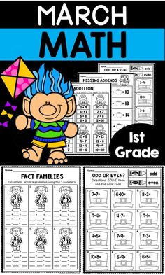 March Worksheets for 1st Grade - Let your first graders work on fact families, missing addends, adding 3 numbers, sums, 2 digit addition and subtraction without regrouping, odd or even, money, part part whole, in and out boxes, shapes, addition facts, coins, doubles +1, time, and counting by threes. These work great for morning work, seat work, homework, bell ringers, test prep, review, early or fast finishers, centers, stations, rotations, and more. Perfect for St. Patrick's Day…