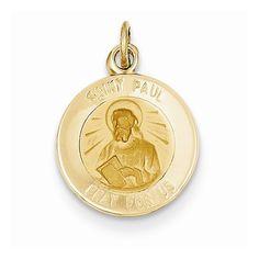 14k Yellow Gold Saint Paul Medal Pendant