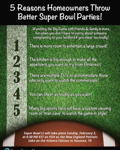 Watching the Big Game at home with your friends and family offers many advantages!!#homeownership #superbowl