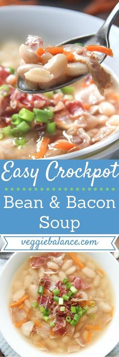 Campbells Bean and Bacon Soup Copycat Recipe made in the crockpot!   6 All-natural ingredients, loaded with Bacon, Protein packed, Low-fat and low-sodium.   Slow Cooker Recipes, Crockpot Recipes, Soup Recipes, Cooking Recipes, Healthy Recipes, Free Recipes, Healthy Soups, Yummy Recipes, Bean And Bacon Soup