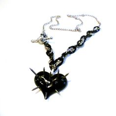 Black Heart Necklace with Nail Spikes   by VitalMadness on Etsy, $23.00