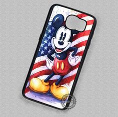Vintage Dinsey Mickey Mouse Retro USA Flag - Samsung Galaxy S7 S6 S5 Note 7 Cases & Covers