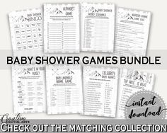 Games Baby Shower Games Adventure Mountain Baby Shower Games Gray White Baby Shower Adventure Mountain Games party ideas, prints - S67CJ - Digital Product #babyshowergames #babyshowerdecorations