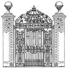 Vintage Clip Art – Ornate Iron Gate – Scrolls