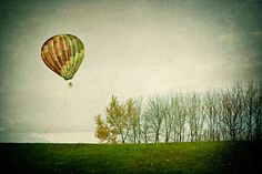 nature photography- surreal landscape- trees-green- hot air balloon- Letting Go fine art photograph 7x10 print, via Etsy.