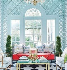 No room for this in my London flat....it's gorgeous! 💕  #interiorideas #interiors #interiordesign #house #homedecor #home #designinspiration #design #chic #elegant #beautiful #colour #arch #windows #trellis #symmetry #pattern #fabric #textiles #books #light #gardenroom #paleblue #books #conservatory #classic #timeless #glamorous #red #luxurylife #garden  Spotted at @gigiguzzo44 so thank you!