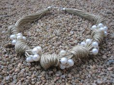 Necklace Natural Linen Knots Frehswater Pearls by espurna88, €26.20