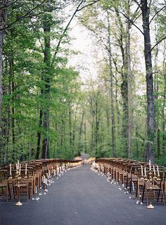 Romantic Candlelit Wedding Inspiration #ceremony #candles #outdoorwedding