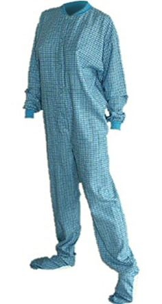 Turquoise and Yellow Flannel Adult Footed Pajamas - http://bandshirts.org/product/turquoise-and-yellow-flannel-adult-footed-pajamas/