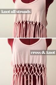 knot fringe. Great for beach wear and layering! I bet you could do a whole shirt like this! No need to purchase those cool new crocheted Tees. You can make your own! (Also, I bet you can cut a long strand around the shirt to your desired length and crochet with the original t-shirts pattern.)    Music festival wear