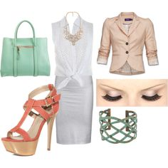 polyvore summer work outfit,