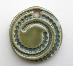 Swirl Dots Ceramic Pendant Necklace Casual by BluMudd on Etsy, $7.00