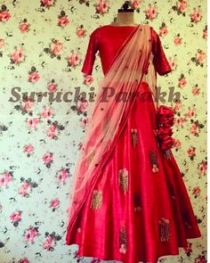 Beautiful cherry red lehenga adorned with handmade net flowers and sequins. DM us for details or whatsapp on 9537165033 Red Lehenga, Cut Work, Cherry Red, Indian Ethnic, Indian Outfits, Sari, Sequins, Couture, Elegant