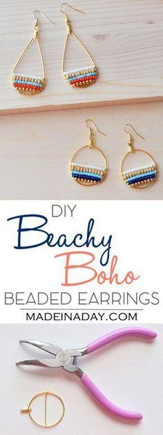 DIY Beachy Bohemain Beaded Hoop Earrings, Super fun layered beaded earrings, so cute & boho. Bohemian, beachy, trendy, hoop…                                                                                                                                                     More #beads