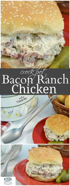 Fire up the slow cooker and get started on these absolutely amazing chicken bacon ranch sandwiches! Shredded chicken, bacon, cream cheese and ranch seasoning make for a lunch or dinner meal so delicious it must be tasted to be believed. #chickenrecipe #bacon