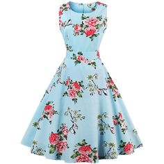 SheIn(sheinside) Random Florals Bow Tie Back Circle Dress ($24) ❤ liked on Polyvore featuring dresses, multicolor, vintage dresses, sleeveless summer dresses, blue summer dress, knee length summer dresses and blue fit and flare dress