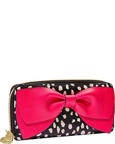 BOW REGARD ZIP AROUND WALLET. Betsy Johnson clutch. Black and white with a BIG pink bow!