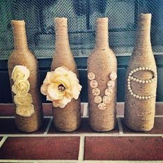 Diy twine wine bottle crafts - flowers and beads, love, table decoration