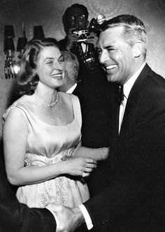 """ ""Cary Grant and Ingrid Bergman at a party, c. late 1950s. "" """