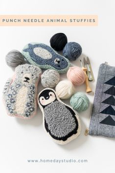 Punch Needle Animal Stuffies- Pattern and Kit by Homeday Studio Diy Macrame Wall Hanging, Knitting Patterns, Crochet Patterns, Knitting Ideas, Print Patterns, Diy Broderie, Mollie Makes, Punch Needle Patterns, Craft Punches