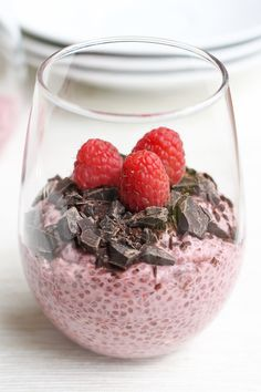 Healthy Chia Desserts 4 Ways: Raspberry Chia Pudding with Chocolate Chunks