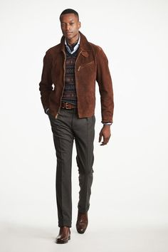 Fashion Week Milan Fall/Winter 2019 look 10 from the Ralph Lauren Purple Label collection menswear Ralph Lauren, Style Casual, Men Casual, Men's Style, Casual Menswear, Casual Styles, Mens Half Sleeve, Style Costume Homme, Winter Shirts