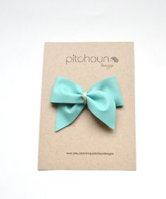 Leather bow hairclip in Tiffany Blue by Pitchoundesigns on Etsy, $14.00