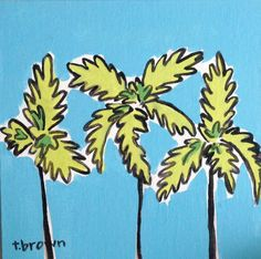 """""""palm springs."""" original painting on canvas panel by artist, tracie brown. size: 8x8 (square) made with interior latex house paint ** comes unframed ** ----------------- from my collection """"doodles wi"""
