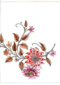 Botanical Flowers, Botanical Art, Bunch Of Flowers, Indian Textiles, Bird Drawings, Crewel Embroidery, Art Themes, Textile Design, Textile Art