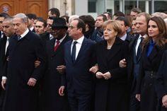 Noblesse et Royautés:  Paris rally against terror, January 11, 2015-Israeli Prime Minister Benjamin Netanyahu, Malian President Ibrahim Boubacar Keita, French President François Hollande, German Chancellor Angela Merkel, and Queen Rania of Jordan