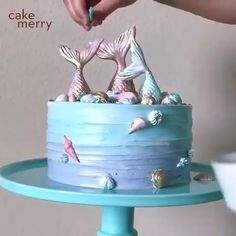 "Beautiful mermaid cake by . ""I got to go crazy with sprinkles and colors for this mermaid cake whi. Ocean Birthday Cakes, Ocean Cakes, Mermaid Theme Birthday, Beach Cakes, Frozen Birthday Party, Olaf Birthday Cake, Boys First Birthday Cake, Beach Themed Cakes, Elsa Birthday"