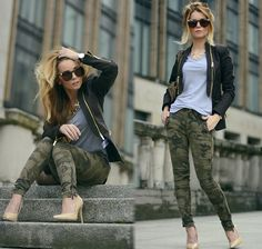 Skinny camouflage + t-shirt gris + perfecto noir Camo Pants Outfit, Camo Outfits, Mode Outfits, Casual Outfits, Camouflage Fashion, Camo Fashion, Diva Fashion, Womens Fashion, Fashion Blogs