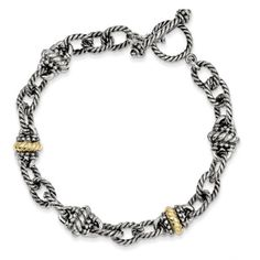 Precious Metal without Stones 164313: 7.5 Link Toggle Bracelet .925 Sterling Silver 14K Gold Accent Shey Couture BUY IT NOW ONLY: $99.79